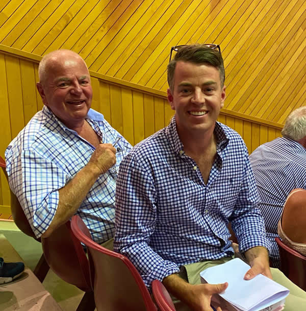 David Ellis (left) with Te Akau Racing trainer Jamie Richards at the National Yearling Sale at Karaka  Photo: Trish Dunell