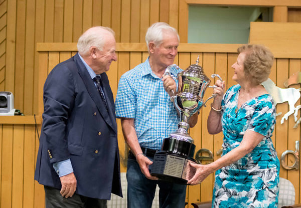 The New Zealand Breeder of the Year Award has been renamed in honour of Sir Patrick and Justine Lady Hogan, pictured with Sir Peter Vela (left). Photo: Sharon Chapman