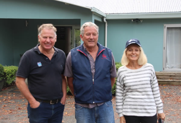 Rich Hill Stud principal John Thompson (left) with John Fiteni and Kathy Stewart, owners of Surprise Baby.