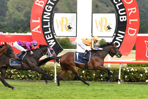 Amarelinha comfortably holds Charms Star at bay as she takes out the Gr.1 Al Basti Equiworld Dubai New Zealand Oaks (2400m) at Trentham Photo Credit: Race Images – Peter Rubery