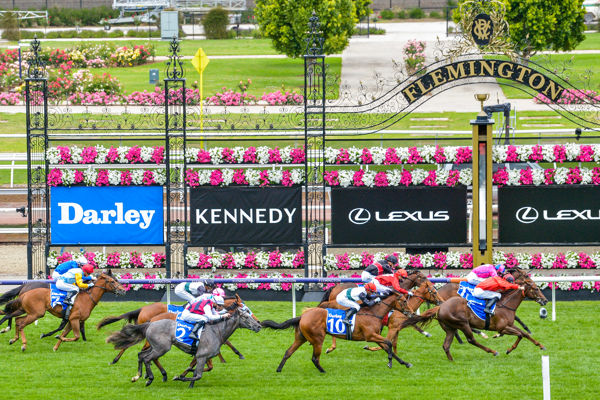 Dosh (orange) a stakes win on debut (Racing Photos)