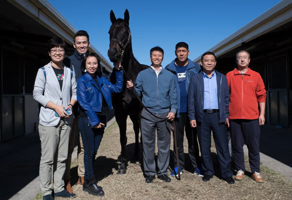 Gregers pictured at Magic Millions with the Yulong team after topping the MM National Broodmare Sale sale in 2017.