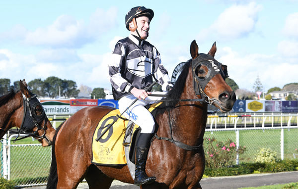 A smiling Sam Weatherley brings Justaskme back to the New Plymouth birdcage after taking out the Listed Powerworx Opunake Cup (1400m) Photo Credit: Race Images – Grant Matthew