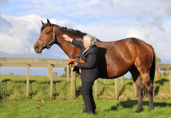 Meleka Belle pictured with owner-breeder Marie Leicester.
