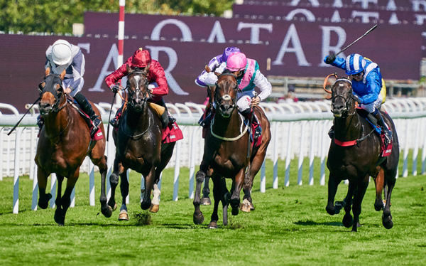 Mohathher in the Shadwell colours charges to victory - image Goodwood Racecourse Twitter