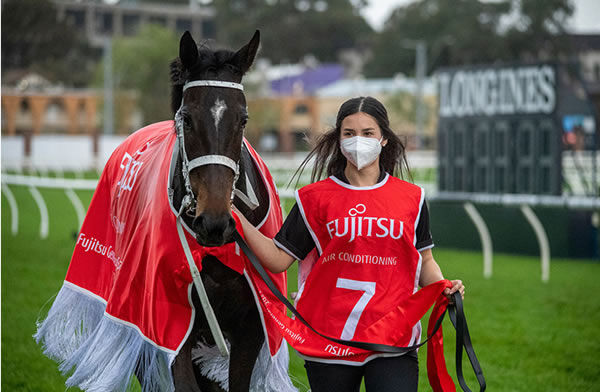Explorer Program graduate Marley Mezi strapping Verry Elleegant on her 9th Gr 1 Win in the George Main Stakes. Photo: Ash Brennan Photography